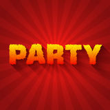 Fire party text on a red background concept. Stock Image