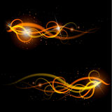 Fire pattern. Beautiful fire framing pattern on a black background Royalty Free Stock Images