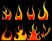 Fire patterns set. Set of different fire patterns for design use Royalty Free Stock Image