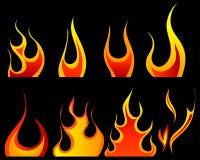 Fire patterns set Royalty Free Stock Image