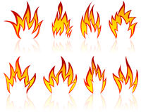 Fire patterns set. Set of different fire patterns for design use Royalty Free Stock Images