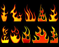 Fire patterns set. Set of different fire patterns for design use Royalty Free Stock Photo