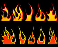 Fire patterns set. Set of different fire patterns for design use Royalty Free Stock Photography
