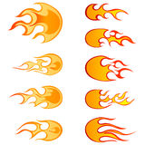 Fire patterns set. Set of different fireballs patterns for design use Royalty Free Stock Photo