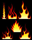 Fire patterns set. Set of different fire patterns for design use Stock Photo