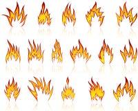 Fire patterns set Royalty Free Stock Photos