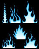 Fire patterns set. Set of different fire patterns for design use Stock Images