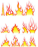 Fire patterns set. Set of different fire patterns for design use Royalty Free Stock Photos