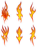 Fire patterns set. Set of different fire patterns for design use Stock Photos