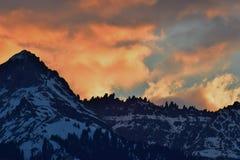Fire on the peaks, Telluride Colorado stock photo
