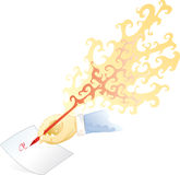 Fire pen. The creativity of the writer is burning the pen, a writing of fire Royalty Free Stock Images