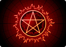 Fire Pentagram. With grid on dark background. Additional vector format in EPS (v.8 Stock Image