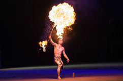 Fire performance. Is a group of performance arts or disciplines that involve manipulation of fire Stock Photo