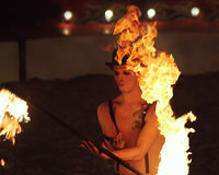 Fire Show Circus Performer Flaming Torch Stock Images
