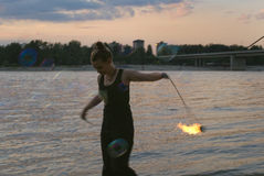 Fire Performer Poi Stock Photography