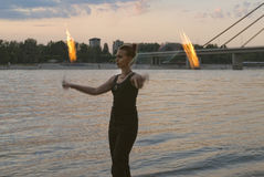 Fire Performer Poi Royalty Free Stock Images