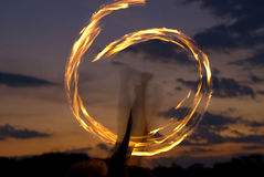 Fire Performer Poi Stock Image