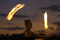 Fire Performer Poi Royalty Free Stock Image