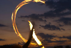 Fire Performer Poi Royalty Free Stock Photo