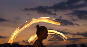 Fire Performer Poi Royalty Free Stock Photography