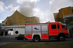 Fire at the Philharmonie Berlin Royalty Free Stock Image