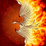 Fire Phoenix. Decorative illustration of flying phoenix bird. Phoenix in burning flame Stock Photo