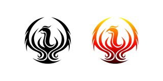 Fire Phoenix Logo. Circle phoenix logo for company,Tattoos or t-shirt  like dragon,symbol of phoenix means the strength Stock Photo