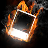Fire photo frame Stock Photography
