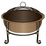 Fire Pit. The copper fire pit with protective netting. Vector illustration Royalty Free Stock Image