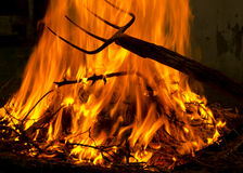Fire and pitchfork. Fire on a background with pitcfork Stock Photo