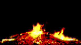 Fire pixelated big campfire stock video