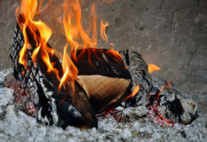 Fire in pizza oven Royalty Free Stock Photo