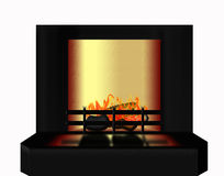 Fire place. Modern looking perspective angled fireplace on white background with warm firey glow Stock Photo