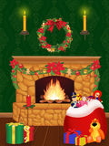 Fire-place. Christmas illustration with fire-place and presents Stock Photography