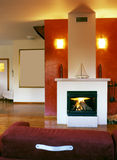 Fire place. In living room stock images