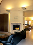 Fire place. In living room stock photos