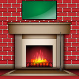 Fire Place With Blank Message Board. Vector Fire Place With Blank Message Board Stock Photos