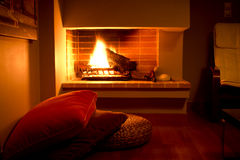 Fire place. Detail of a modern designed living room with a fire place stock photo