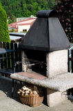 Fire place. In the garden stock photography