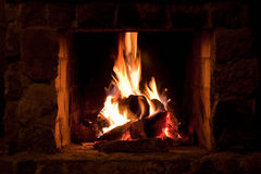 Fire Place In The Winter Home Royalty Free Stock Photography