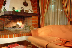 Fire place interior. A view of a room with a fire place stock photo