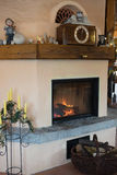 Fire place in living room Royalty Free Stock Photography