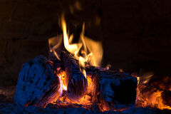 Fire place. Open fire place in a pizza oven stock photo
