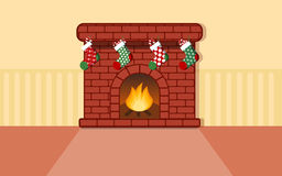 Fire place with stocking for christmas flat vector. Design Royalty Free Stock Images