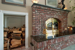 Fire Place and storage Stock Images