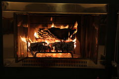 Fire place. Warm fire place on a cold night royalty free stock photo