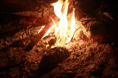 Fire place in the woods. A fireplace burning out ,just a simple image for macro photography Royalty Free Stock Image