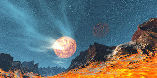 Fire planet. Red planet stock illustration