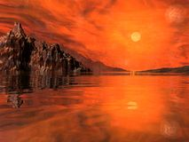 The fire planet. A terrible alien world, with a fiery atmosphere and oceans of molten plasma ... inhospitable and uninhabitable Royalty Free Stock Photos