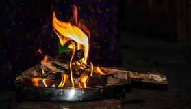 Fire in plate Royalty Free Stock Image